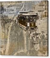 New York Trolley Vintage Photo Collage Canvas Print