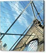 New York Usa  Brooklyn Bridge Towards Manhattan. Canvas Print