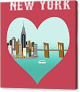 New York Vertical Skyline - Heart Canvas Print