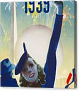 New York, World Fair, Firework, Woman In Blue Dress Canvas Print