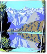 New Zealand Lake Matheson Vintage Travel Poster Canvas Print