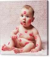 Newborn Baby Gir Filled Kisses Canvas Print