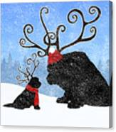Newfie Reindeer Canvas Print