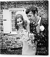 Newlyweds Showered With Rice, C.1960-70s Canvas Print