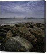 Newport Bridge Under Dramatic Sky Canvas Print