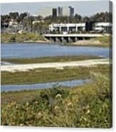 Newport Estuary And Nearby Businesses Canvas Print