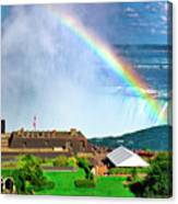 Niagara Falls And Welcome Centre With Rainbow Canvas Print