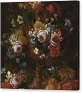 Nicolaes Van Veerendael Antwerp 1640 - 1691 Still Life Of Roses, Carnations And Other Flowers Canvas Print