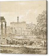 Nicolas-didier Boguet   1755 - 1839   View Of The Roman Forum With The Temple Of Castor Canvas Print