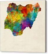 Nigeria Watercolor Map Canvas Print