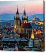 Night Aerial View Of Prague Old Town Canvas Print