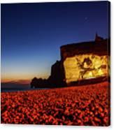 Night At Etretat Beach Canvas Print