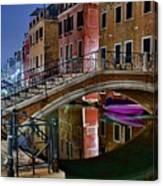 Night Bridge In Venice Canvas Print
