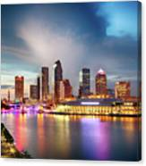 Night Downtown River Canvas Print