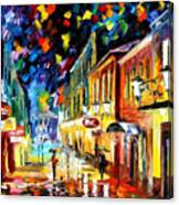 Night Etude - Palette Knife Oil Painting On Canvas By Leonid Afremov Canvas Print