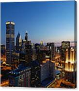 Night Falls On Chicago - D001087 Canvas Print