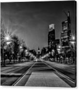 Night Falls On The City - Philadelphia - Black And White Canvas Print