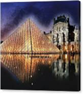 Night Glow Of The Louvre Museum In Paris Canvas Print