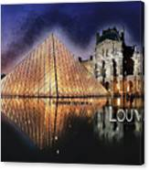 Night Glow Of The Louvre Museum In Paris  Text Louvre Canvas Print