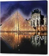 Night Glow Of The Louvre Museum In Paris Text Paris Canvas Print