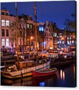 Night Lights On The Amsterdam Canals 7. Holland Canvas Print