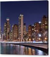 Night Lights On The Lakefront Canvas Print