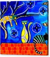 Night Shift - Cat Art By Dora Hathazi Mendes Canvas Print