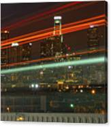 Night Shot Of Downtown Los Angeles Skyline From 6th St. Bridge Canvas Print