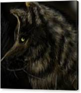 Night Silent Wolf Canvas Print