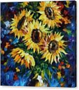 Night Sunflowers Canvas Print