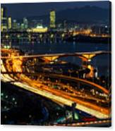 Night Traffic Over Han River In Seoul Canvas Print