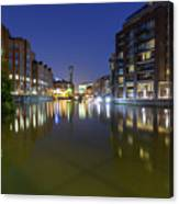 Night View Across River Avon To Temple Bridge Bristol England Canvas Print