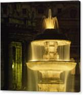 Night View Of A Fountain Outside Saint Canvas Print