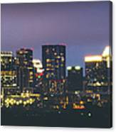Night View Of Downtown Skyline In Winter Canvas Print