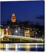 Night View Of Galata Bridge And Galata Tower. Canvas Print