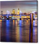 Night View Of Hungerford Bridge And Golden Jubilee Bridges London Canvas Print