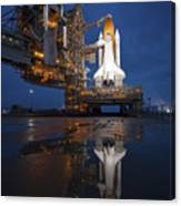 Night View Of Space Shuttle Atlantis Canvas Print