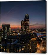 Night View Of The City Of London Canvas Print