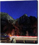 Night View Of The Upper And Lower Yosemite Fall Canvas Print