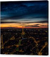 Night View Over Paris With Eiffel Tower Canvas Print