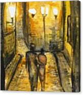 Night Walk Together Canvas Print