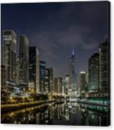 Nighttime Chicago River And Skyline View Canvas Print