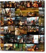 Nighttime Scooters, Hanoi Canvas Print