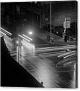 Nighttime Street Scene With Traffic Canvas Print