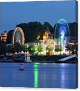 Nijmegen Along The Waal River With A Fairground Canvas Print