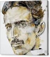 Nikola Tesla - Watercolor Portrait.6 Canvas Print