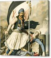 Nikolakis Mitropoulos Raises The Flag With The Cross At Salona On Easter Day 1821 Canvas Print
