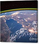 Nile River At Night From Iss Canvas Print