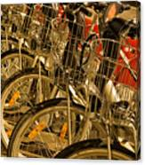 Bikes For Hire In Lyon Canvas Print