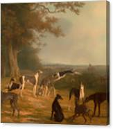 Nine Greyhounds In A Landscape Canvas Print